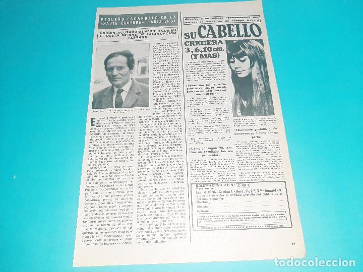 PIERRE CARDIN ACUSADO VENDER ARTICULOS ALEMANES - 1 PAG. - AÑO 1969 - RECORTE REVISTA- VER DETALLES (Coleccionismo - Revistas y Periódicos Modernos (a partir de 1.940) - Otros)