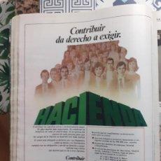 Coleccionismo de Revistas y Periódicos: ANUNCIO HACIENDA RENTA. Lote 227783830