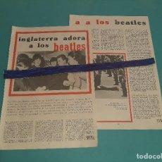 Coleccionismo de Revistas y Periódicos: THE BEATLES - INGLATERRA LOS ADORA -ARTICULO - 3 PAG.-AÑO 1966- RECORTE REVISTA-. Lote 228198345