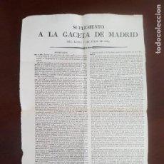 Coleccionismo de Revistas y Periódicos: SUPLEMENTO A LA GACETA DE MADRID - 1834. Lote 229116365