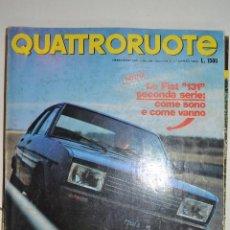 Coleccionismo de Revistas y Periódicos: 1978 Nº 267 REVISTA QUATTRORUOTE FIAT 131 FIAT 1500 -1300 - 1100. Lote 278758803
