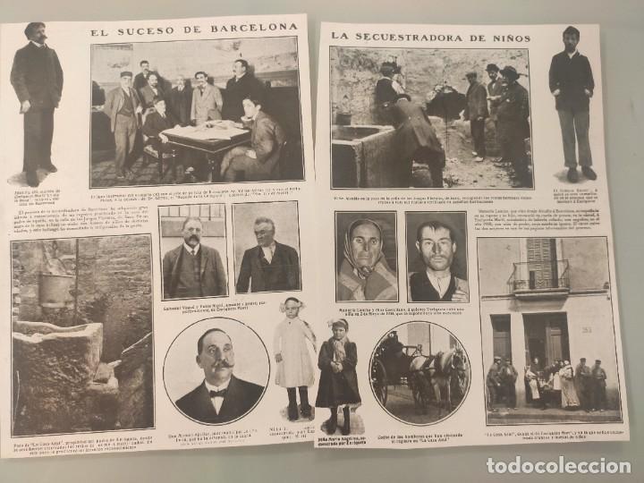 2 HOJAS REVISTA ORIGINALES ANTIGUAS. SUCESO BARCELONA, LA SECUESTRADORA DE NIÑOS (Coleccionismo - Revistas y Periódicos Antiguos (hasta 1.939))