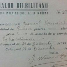Coleccionismo de Revistas y Periódicos: CALATAYUD HERALDO BILBILITANO PERIÓDICO DEL AÑO 1939. Lote 231258960