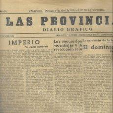 Coleccionismo de Revistas y Periódicos: PERIODICO LAS PROVINCIAS DE 1939, Nº 30.455. Lote 231692635