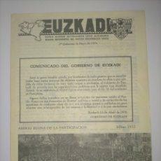 Coleccionismo de Revistas y Periódicos: EUZKADI (MAYO 1976) BOLETIN INFORMATIVO DEL PARTIDO NACIONALISTA VASCO (PNV/EHU). Lote 232367060