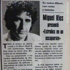 Coleccionismo de Revistas y Periódicos: RECORTE CLIPPING DE MIGUEL RIOS REVISTA SEMANA Nº 2158 PAG. 87 L21. Lote 232577885