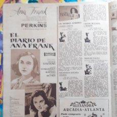 Coleccionismo de Revistas y Periódicos: ANUNCIO EL DIARIO DE ANA FRANK SHELLEY WINTERS MILLIE PERKINS, JOSEPH SCHILDKRAUT. Lote 234960590