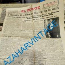 Coleccionismo de Revistas y Periódicos: PERIODICO EL DEBATE, 8 ABRIL 1936, DESTITUCION DE ALCALA ZAMORA, 4 PAGINAS. Lote 235141945