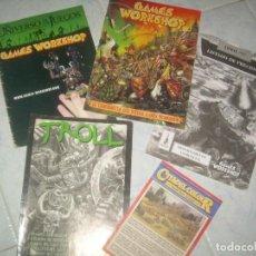 Coleccionismo de Revistas y Periódicos: LOTE 5 CATÁLOGO REVISTA GAMES WORKSHOP, TROLL. JUEGOS FIGURAS MODELISMO. Lote 235381180