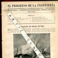 Coleccionismo de Revistas y Periódicos: REVISTA AÑO 1923 RUHR EL PROGRESO DE LA INGENIERIA. Lote 235435930
