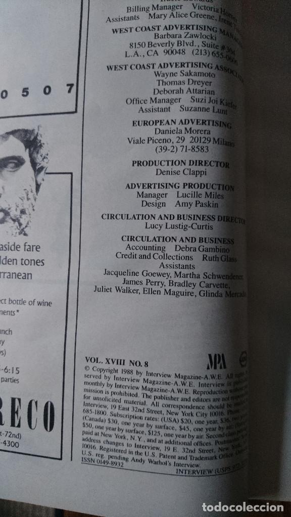 Coleccionismo de Revistas y Periódicos: Revista Interview Andy Warhol MICHELLE PFEIFFER Agosto. 1988 - Foto 2 - 235697975