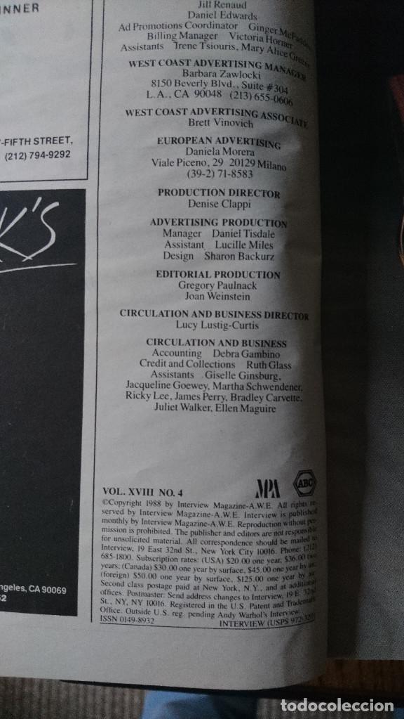 Coleccionismo de Revistas y Periódicos: Revista Interview Andy Warhol ISABELLA ROSSELLINI Abril. 1988 - Foto 2 - 235698095