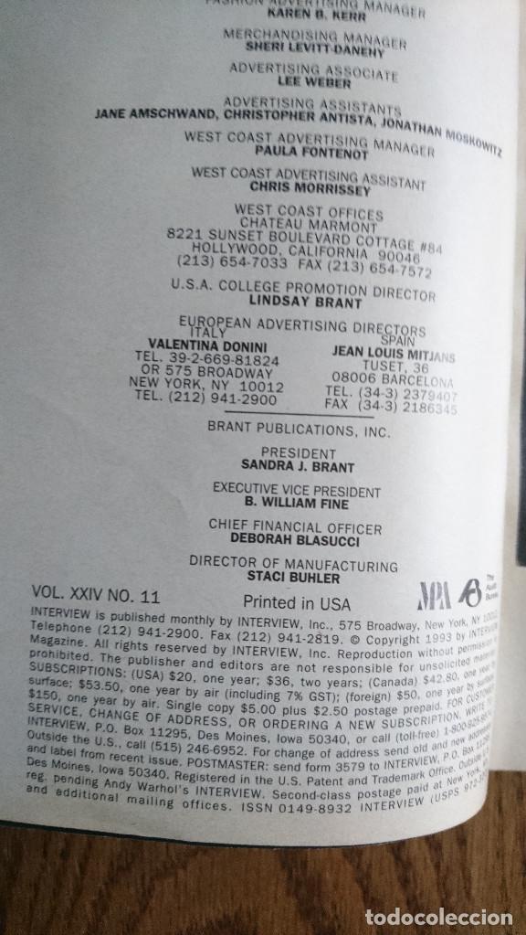 Coleccionismo de Revistas y Periódicos: Revista Interview Andy Warhol ROBERT DE NIRO Noviembre. 1993 - Foto 2 - 235698315