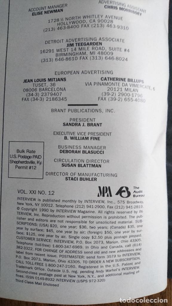 Coleccionismo de Revistas y Periódicos: Revista Interview Andy Warhol ANJELICA HUSTON Diciembre. 1990 - Foto 2 - 235698345