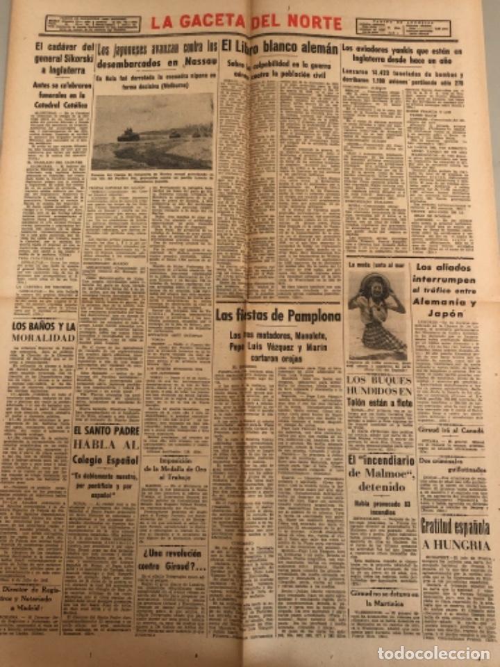 Coleccionismo de Revistas y Periódicos: La gaceta del Norte, N 13.082 1943 Viernes 9 de julio ,Bilbao,Segunda guerra mundial - Foto 2 - 235873845
