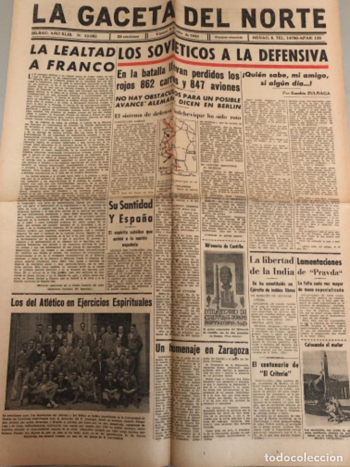 LA GACETA DEL NORTE, N 13.082 1943 VIERNES 9 DE JULIO ,BILBAO,SEGUNDA GUERRA MUNDIAL (Coleccionismo - Revistas y Periódicos Modernos (a partir de 1.940) - Otros)