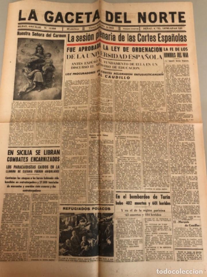 LA GACETA DEL NORTE, N 13.988 1943 VIERNES 16 DE JULIO ,BILBAO,SEGUNDA GUERRA MUNDIAL (Coleccionismo - Revistas y Periódicos Modernos (a partir de 1.940) - Otros)