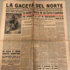 Coleccionismo de Revistas y Periódicos: LA GACETA DEL NORTE, N 13.988 1943 VIERNES 16 DE JULIO ,BILBAO,SEGUNDA GUERRA MUNDIAL. Lote 235875035