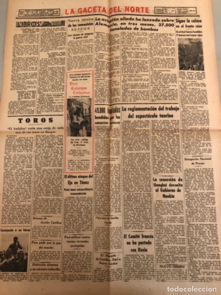Coleccionismo de Revistas y Periódicos: La gaceta del Norte, N 13.076 ,1943 Viernes 2 de julio ,Bilbao,Segunda guerra mundial - Foto 2 - 235904220