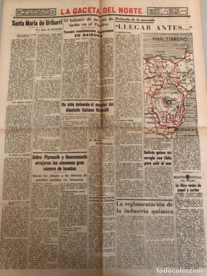 Coleccionismo de Revistas y Periódicos: La gaceta del Norte, N 14.012, 1943 Viernes 13 de agosto ,Bilbao,Churchill,Escuela naval de Marín - Foto 2 - 235907310