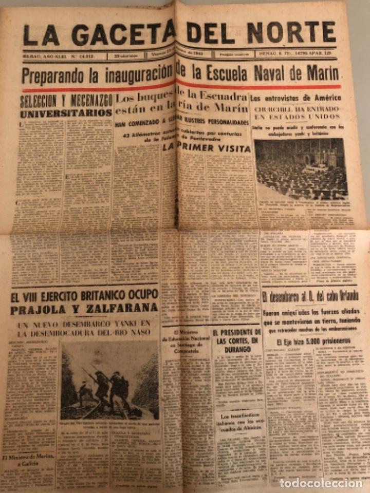 LA GACETA DEL NORTE, N 14.012, 1943 VIERNES 13 DE AGOSTO ,BILBAO,CHURCHILL,ESCUELA NAVAL DE MARÍN (Coleccionismo - Revistas y Periódicos Modernos (a partir de 1.940) - Otros)