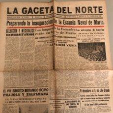 Coleccionismo de Revistas y Periódicos: LA GACETA DEL NORTE, N 14.012, 1943 VIERNES 13 DE AGOSTO ,BILBAO,CHURCHILL,ESCUELA NAVAL DE MARÍN. Lote 235907310