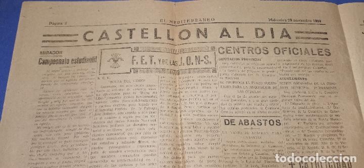 Coleccionismo de Revistas y Periódicos: Diario Mediterraneo(Guerra Civil) Restos Jose Antonio llegan Escorial, Castellón al día ,ver fotos - Foto 2 - 236247320