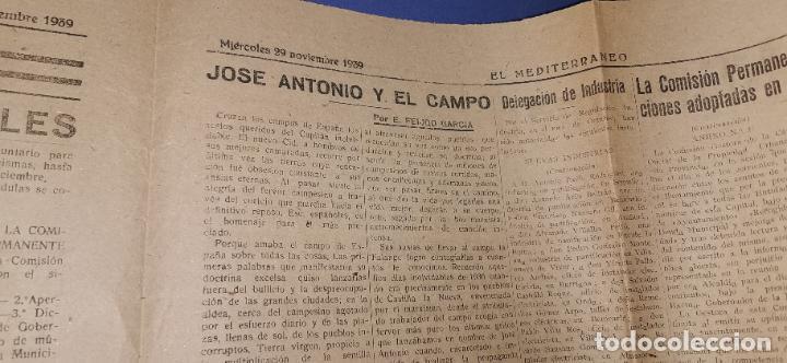 Coleccionismo de Revistas y Periódicos: Diario Mediterraneo(Guerra Civil) Restos Jose Antonio llegan Escorial, Castellón al día ,ver fotos - Foto 3 - 236247320