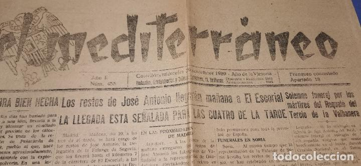 DIARIO MEDITERRANEO(GUERRA CIVIL) RESTOS JOSE ANTONIO LLEGAN ESCORIAL, CASTELLÓN AL DÍA ,VER FOTOS (Coleccionismo - Revistas y Periódicos Antiguos (hasta 1.939))