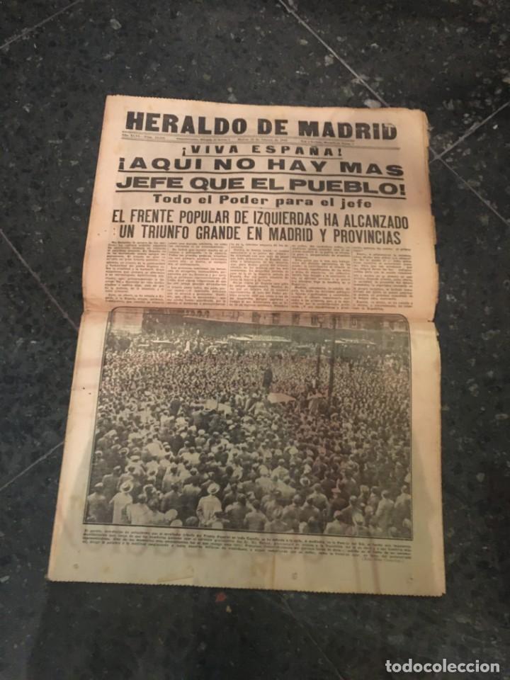 REPUBLICA - HERALDO DE MADRID 18 FEBRERO 1936 ¡VIVA ESPAÑA! AQUI NO HAY MAS JEFE QUE EL PUEBLO EL FR (Coleccionismo - Revistas y Periódicos Antiguos (hasta 1.939))