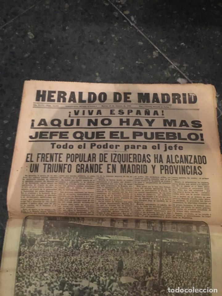 Coleccionismo de Revistas y Periódicos: REPUBLICA - HERALDO DE MADRID 18 FEBRERO 1936 ¡VIVA ESPAÑA! AQUI NO HAY MAS JEFE QUE EL PUEBLO EL FR - Foto 2 - 236610165
