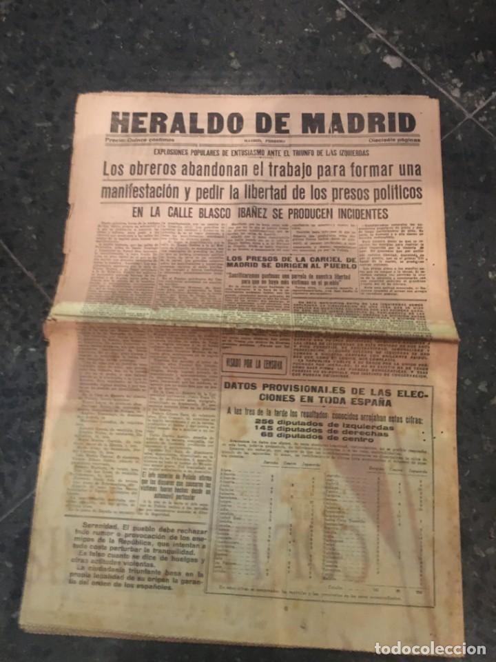Coleccionismo de Revistas y Periódicos: REPUBLICA - HERALDO DE MADRID 18 FEBRERO 1936 ¡VIVA ESPAÑA! AQUI NO HAY MAS JEFE QUE EL PUEBLO EL FR - Foto 3 - 236610165