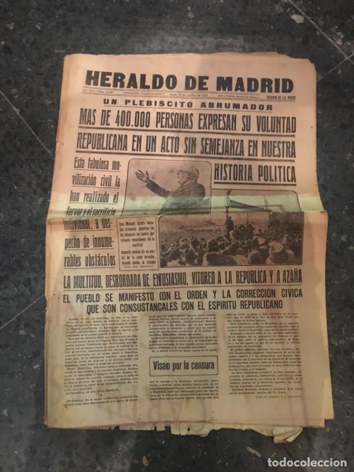 REPUBLICA - HERALDO DE MADRID 21 OCTUBRE 1935 MAS DE 400.000 PERSONAS EXPRESAN SU VOLUNTAD REPUBLICA (Coleccionismo - Revistas y Periódicos Antiguos (hasta 1.939))