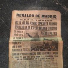 Coleccionismo de Revistas y Periódicos: REPUBLICA - HERALDO DE MADRID 21 OCTUBRE 1935 MAS DE 400.000 PERSONAS EXPRESAN SU VOLUNTAD REPUBLICA. Lote 236612680