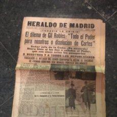 Coleccionismo de Revistas y Periódicos: REPUBLICA - HERALDO DE MADRID 13 DICIEMBRE 1935 EL DILEMA DE GIL ROBLES ''TODO EL PODER PARA NOSOTRO. Lote 236614050