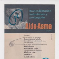 Coleccionismo de Revistas y Periódicos: PUBLICIDAD 1960. ANUNCIO MEDICAMENTOS ALDO-ASMA. ALDO-UNION + RESPITOL. LABORATORIOS LIADE (REVERSO). Lote 237202930