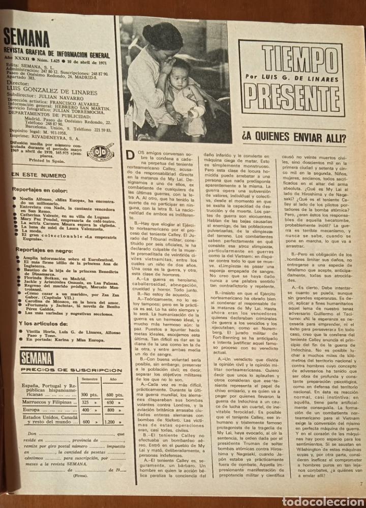 Coleccionismo de Revistas y Periódicos: Revista Semana 1971. N° 1625. Eurovisión KARINA. Capitulo LIX La emperatriz Eugenia. - Foto 3 - 237645340