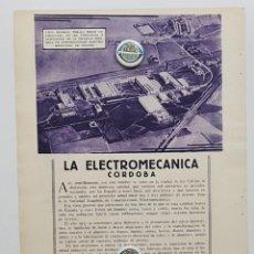 Coleccionismo de Revistas y Periódicos: 1933. CÓRDOBA. PUBLICIDAD. LA ELECTROMECANICA. SOCIEDAD ESPAÑOLA CONSTRUCCIONES ELECTROMECANICAS. Lote 239719680