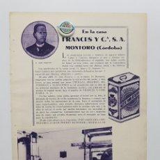 Coleccionismo de Revistas y Periódicos: 1933. CÓRDOBA. PUBLICIDAD. MONTORO. CASA FRANCÉS Y Cª. JOSE FRANCES. ACEITE EL PREDILECTO. Lote 239720540