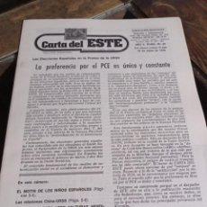 Coleccionismo de Revistas y Periódicos: PERIODICO CARTA DEL ESTE, DIRECTOR GABRIEL AMIAMA AÑO 2 NUM. 28-29 REF. UR EST. Lote 240261095