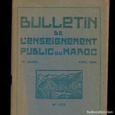 Coleccionismo de Revistas y Periódicos: ETNOGRAFIA MARITIMA RABAT SALE - BULLETIN ENSEIGNEMENT MAROC - AVRIL 1934. Lote 241866260