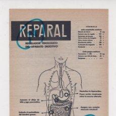 Collectionnisme de Revues et Journaux: PUBLICIDAD 1961. ANUNCIO MEDICAMENTO REPARAL. LABORATORIOS LASA. Lote 244405030