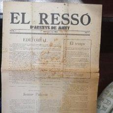 """Coleccionismo de Revistas y Periódicos: 1935 Nº 1 SETEMBRE """"EL RESSÓ D´ARENYS DE MUNT"""". Lote 244615400"""