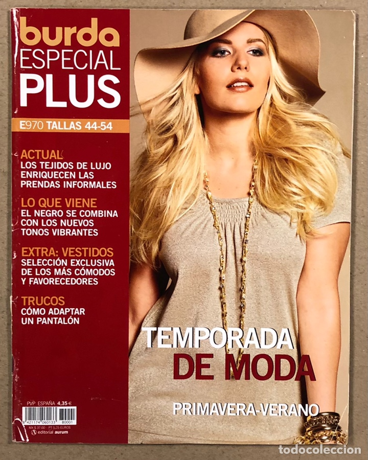 BURDA ESPECIAL PLUS E970 TALLAS 44-54. TEMPORADA DE MODA PRIMAVERA VERANO. INCLUYE PATRONES. (Coleccionismo - Revistas y Periódicos Modernos (a partir de 1.940) - Otros)