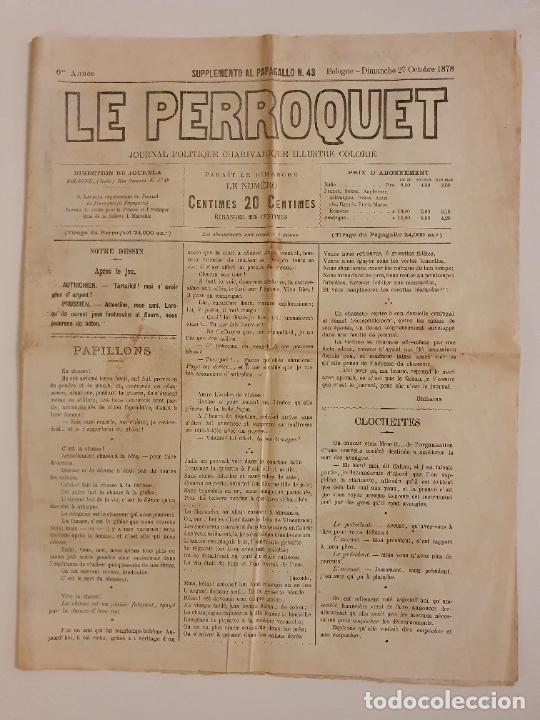 Coleccionismo de Revistas y Periódicos: LE PERROQUET - DIARIO SATÍRICO - ILUSTRACIÓN PARTIDA DE CARTAS / NAIPES - 1878 - 30,5 X 40 CM. - Foto 2 - 245132615