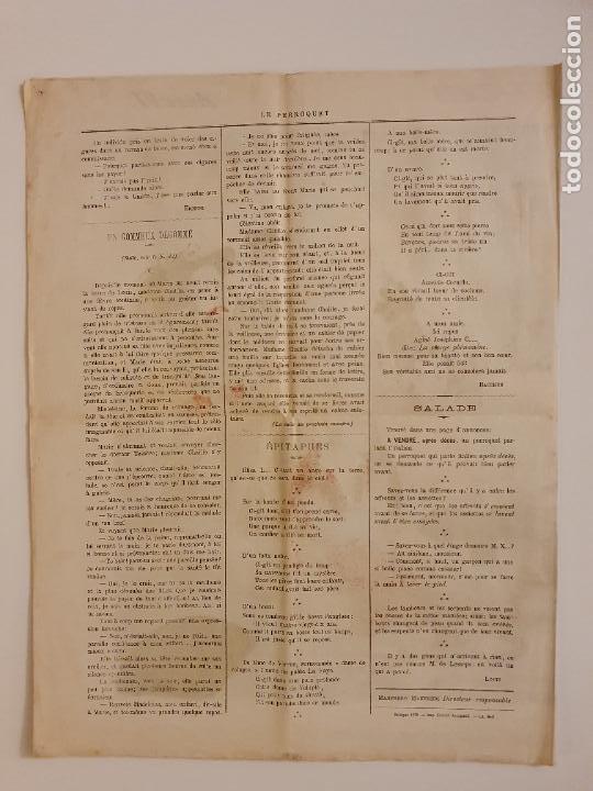 Coleccionismo de Revistas y Periódicos: LE PERROQUET - DIARIO SATÍRICO - ILUSTRACIÓN PARTIDA DE CARTAS / NAIPES - 1878 - 30,5 X 40 CM. - Foto 3 - 245132615