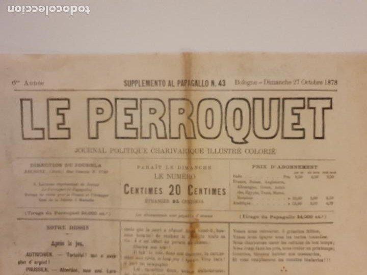 Coleccionismo de Revistas y Periódicos: LE PERROQUET - DIARIO SATÍRICO - ILUSTRACIÓN PARTIDA DE CARTAS / NAIPES - 1878 - 30,5 X 40 CM. - Foto 6 - 245132615