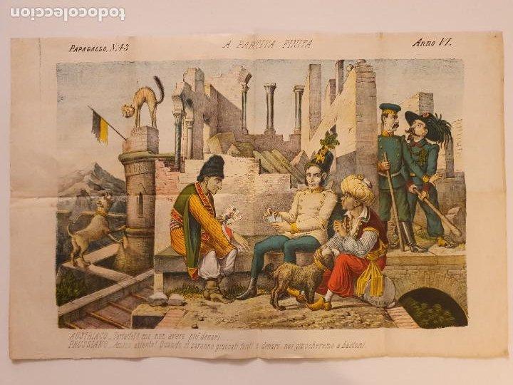 LE PERROQUET - DIARIO SATÍRICO - ILUSTRACIÓN PARTIDA DE CARTAS / NAIPES - 1878 - 30,5 X 40 CM. (Coleccionismo - Revistas y Periódicos Antiguos (hasta 1.939))