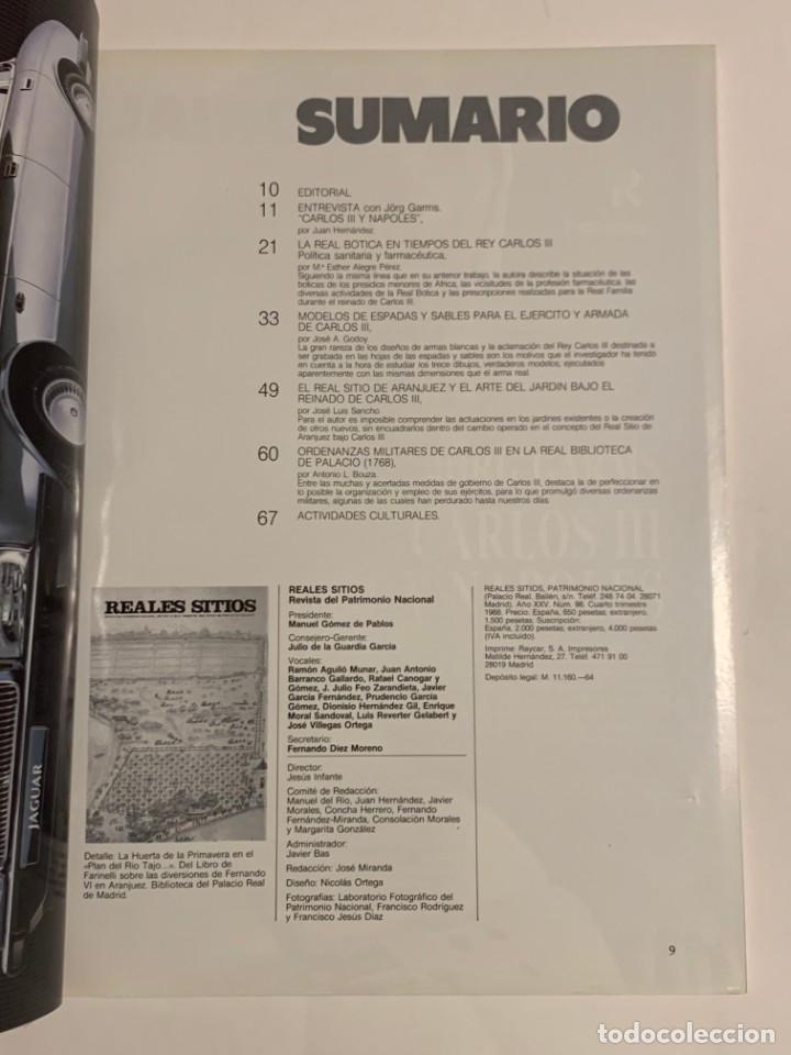 Coleccionismo de Revistas y Periódicos: REVISTA REALES SITIOS - PATRIMONIO NACIONAL - AÑO XXV Nº98 CUARTO TRIMESTRE 1988 - Foto 3 - 245374720