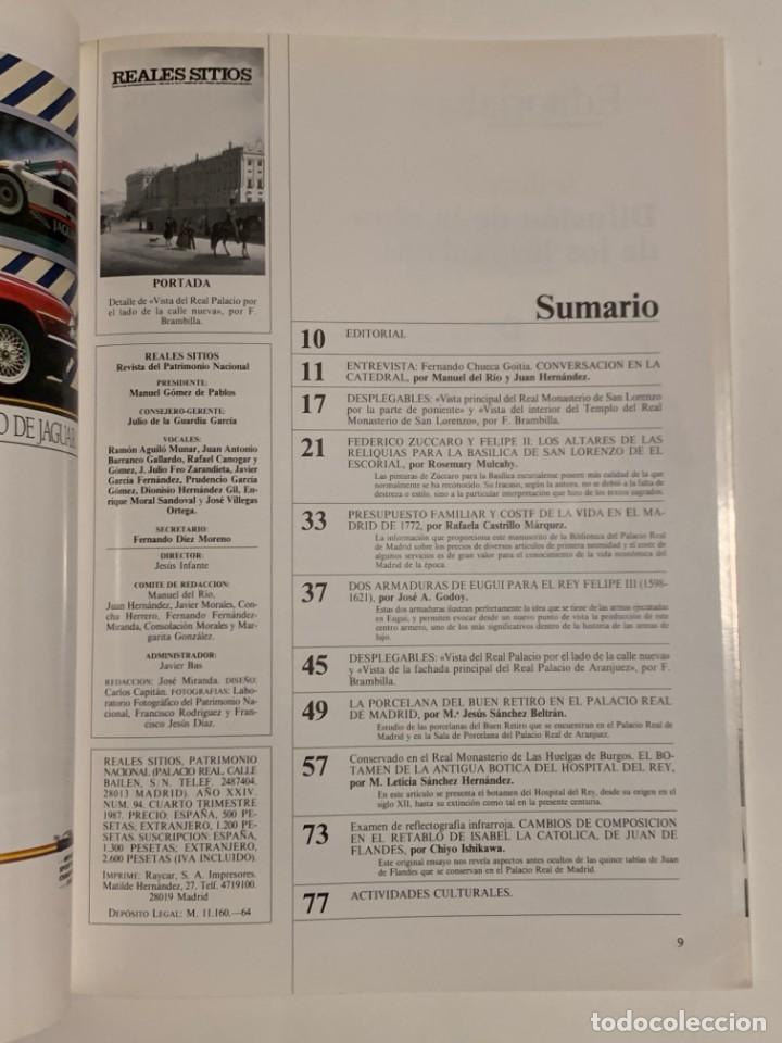 Coleccionismo de Revistas y Periódicos: REVISTA REALES SITIOS - PATRIMONIO NACIONAL - AÑO XXIV Nº94 CUARTO TRIMESTRE 1987 - Foto 3 - 245374965